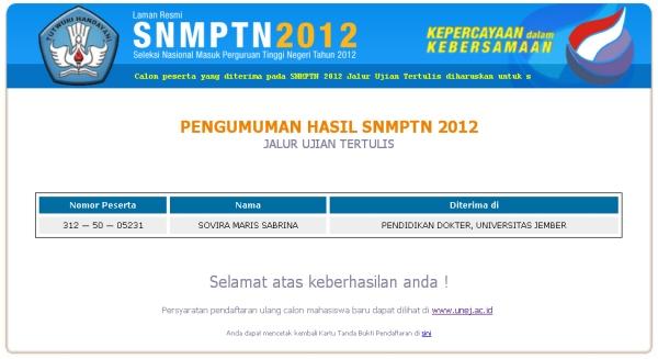 Pengumuman SNMPTN 2012/2013